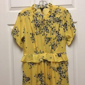 Boho Floral Midi Dress,size-4,short sleeve